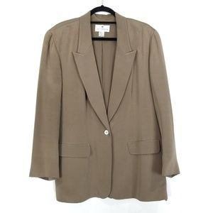 SAKS FIFTH AVENUE 100% Silk Tan Long Blazer
